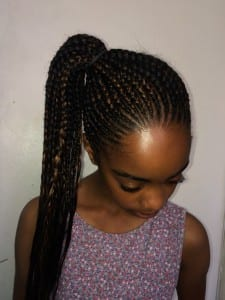 cornrow ponytail