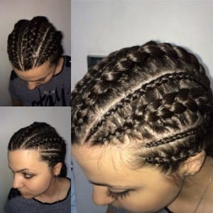 white girl with big cornrow